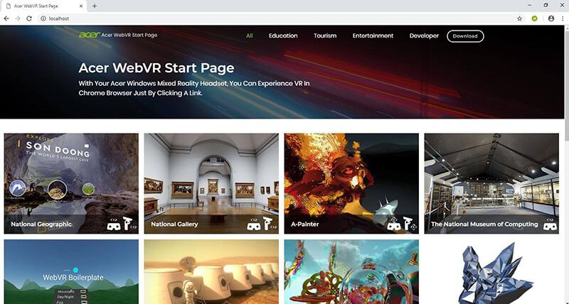 Acer WebVR Start Page
